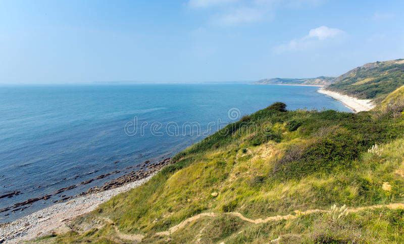 View from Osmington Mills of the coast of Dorset England UK direction of Weymouth. View from Osmington Mills of the beaches and coast of Dorset England UK stock photo