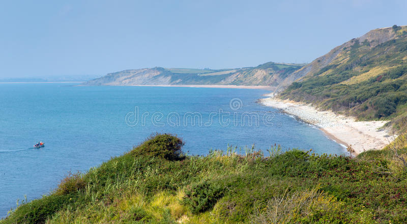 View from Osmington Mills of the coast of Dorset England UK between Weymouth and Lulworth Cove royalty free stock photography
