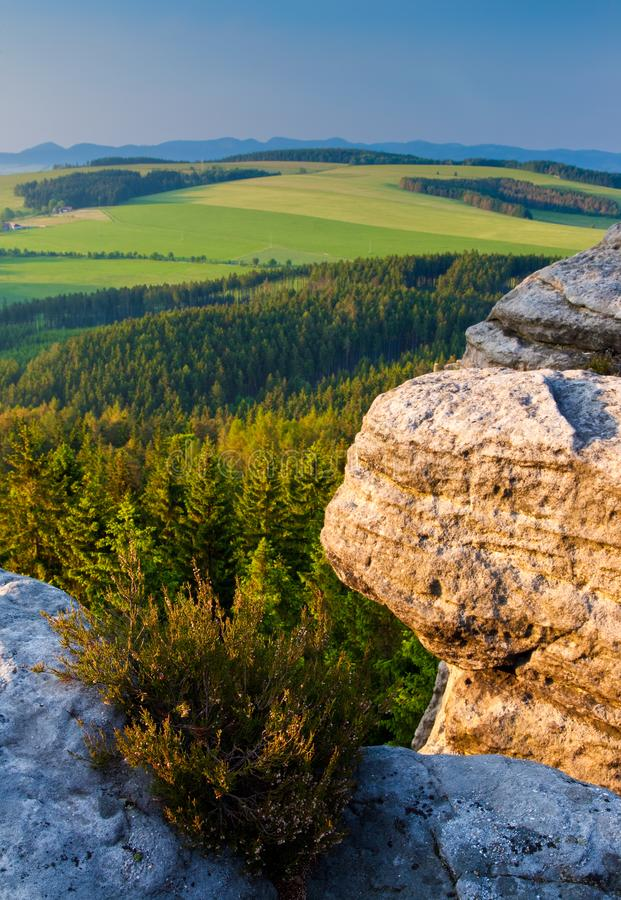 View from Ostas Hill in northern Bohemia, Czech Republic royalty free stock photography