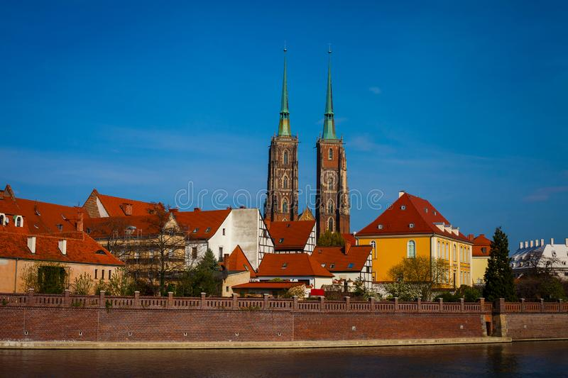 View of Ostrow Tumski in Wroclaw. From across the river Odra royalty free stock photo