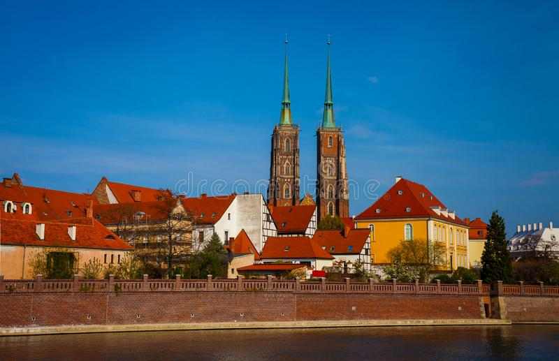 View on Ostrow Tumski in Wroclaw. With two towers of  Cathedral of St. John the Baptist stock image