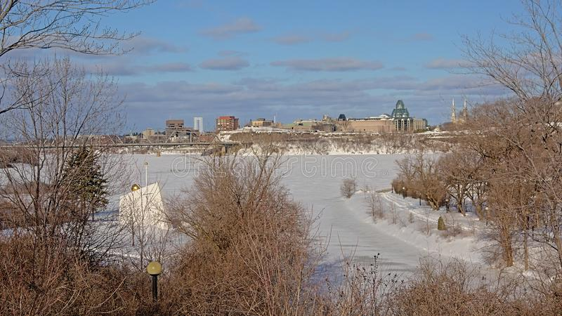 View on Ottawa river from the natural borders of Richmond landing stock images