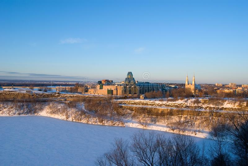View of Ottawa`s National Gallery Museum and Byward Market during Winter Season. Horizontal royalty free stock photos