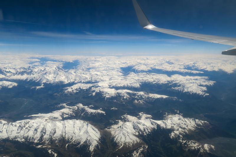 View out of a airplane stock photography