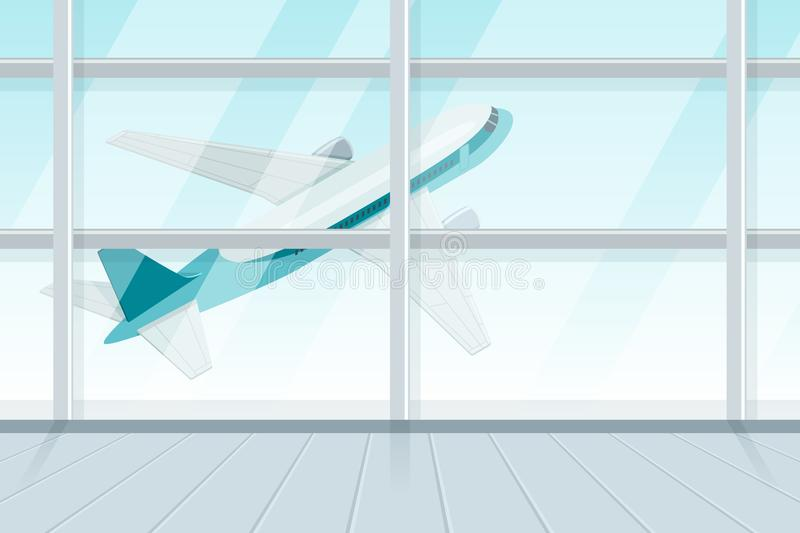 View out of airport terminal window on takeoff airplane. Flying jet plane, vector 3d isometric sytle illustration vector illustration