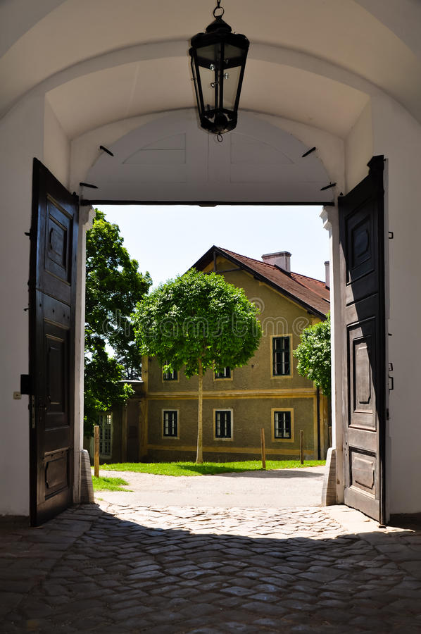 Download View out of a baroque gate stock photo. Image of frame - 25062254