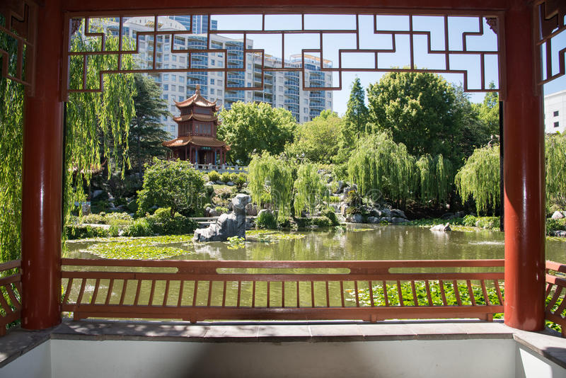 View out Chinese Pergola stock image