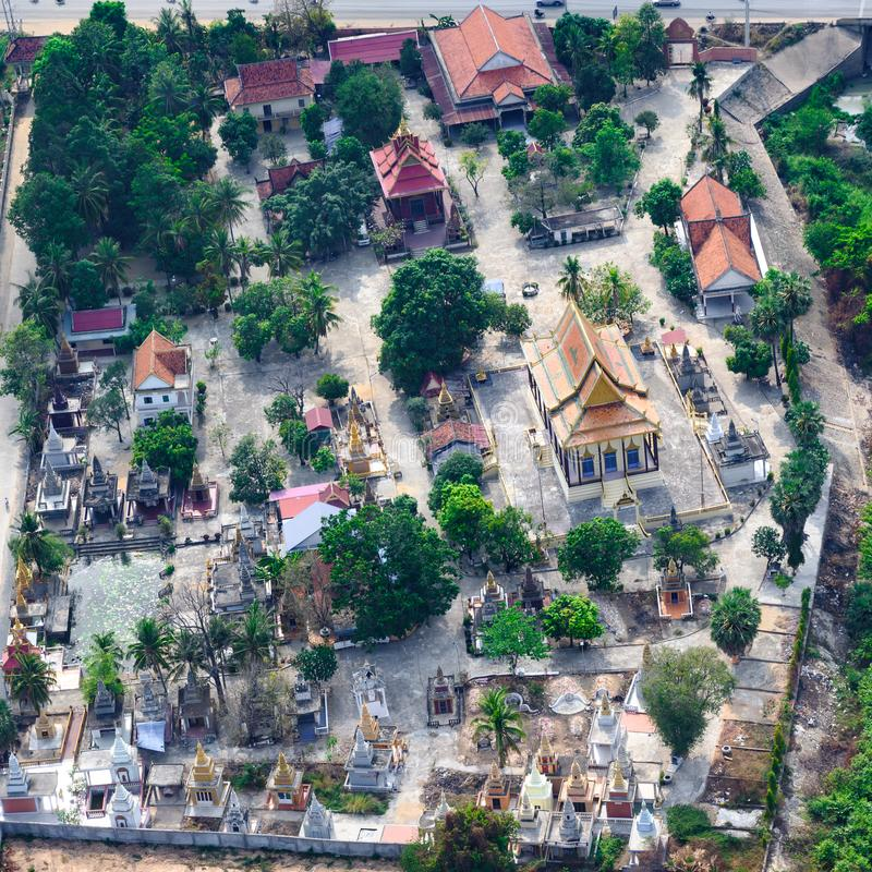 Aerial view of graveyard with tombs and stupas near Phnom Penh, Cambodia. royalty free stock image
