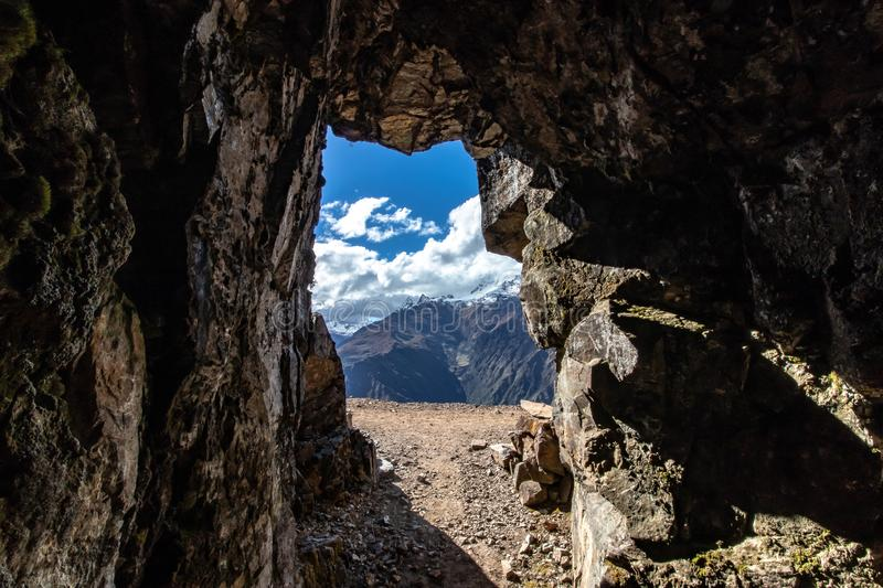 Old silver mine by the Inca Folk, Andes Mountains, Peru royalty free stock image