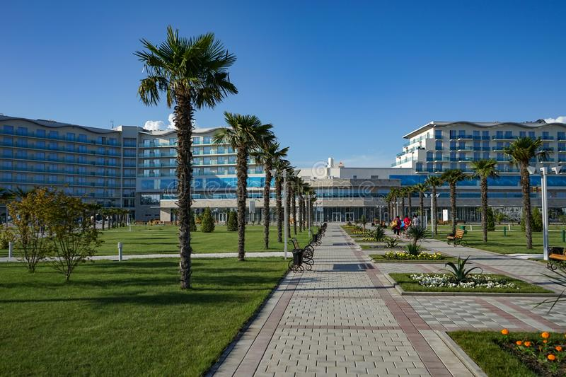 View of the outdoor swimming pool with clear water in the territory of Sochi Hotel Park. royalty free stock photos