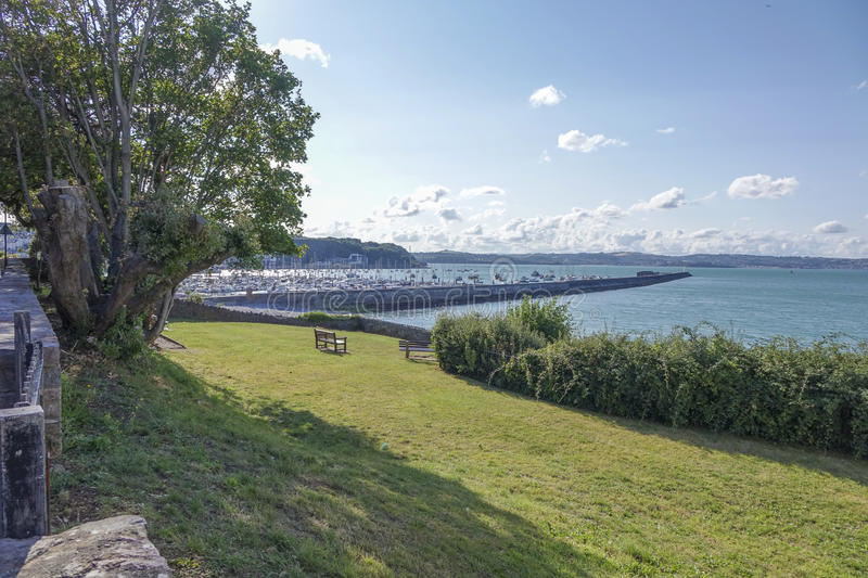 View of outer harbor harbour Brixham Torbay Devon Endland UK. View of outer harbor harbour from park Brixham Torbay (English Riviera) Devon Endland UK stock photography