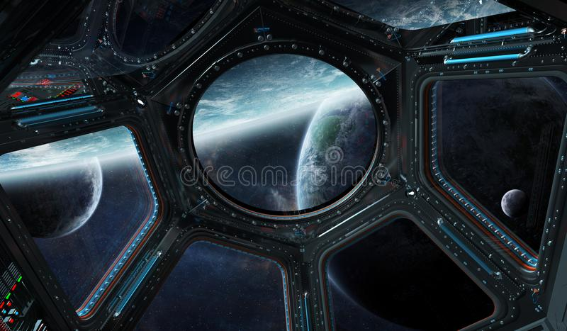 View of outer space from a space station window 3D rendering elements of this image furnished by NASA. Window view of space and planets from a space station 3D royalty free illustration