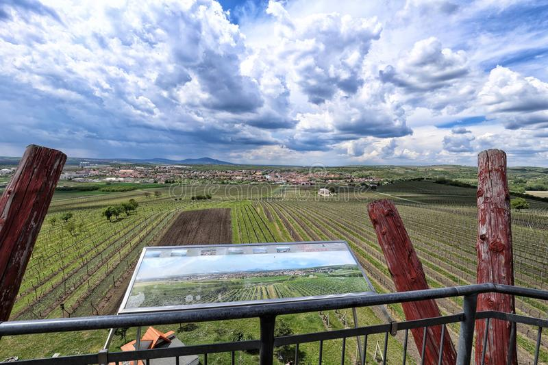 View from the outlook tower above the vineyards. With stormy clouds royalty free stock photography