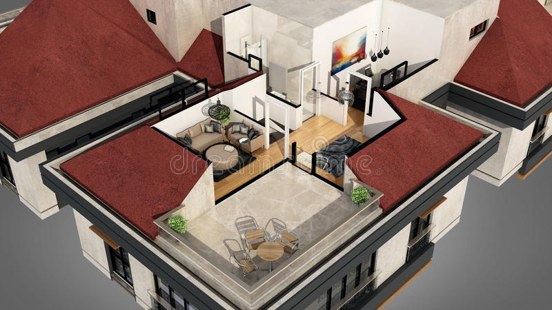 View from outside of 3D designed apartment vector illustration