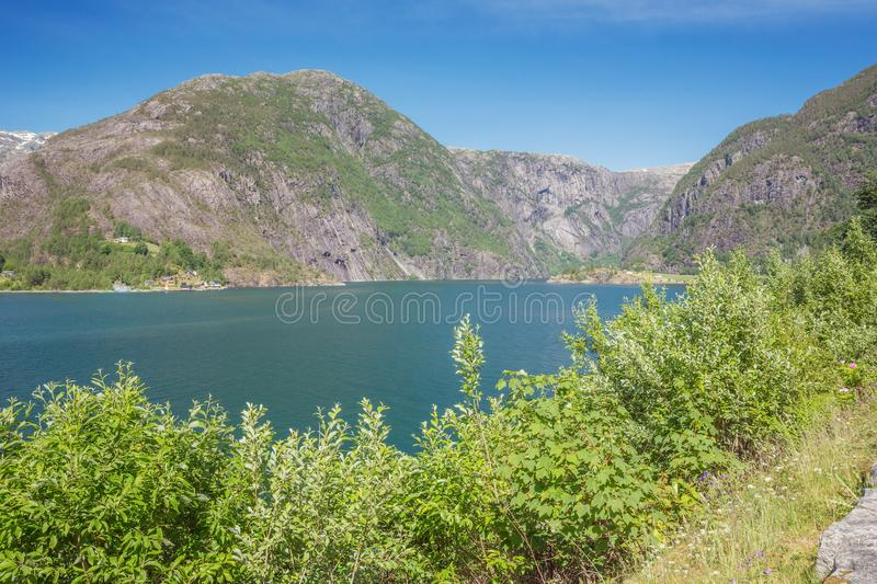 View over the Akrafjorden. From the spot where the Langfossen flows into the fjord royalty free stock image