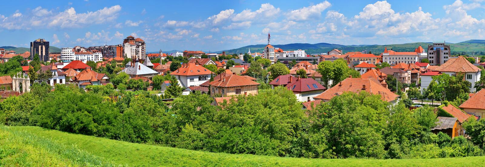 View over Alba Iulia city in Romania. Wide shot of Alba Iulia city in Romania