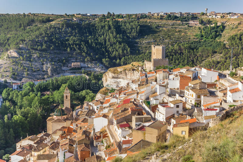 View over Alcala del Jucar village. In Spain royalty free stock photography