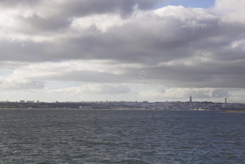 View over Almada and Lisbon stock image