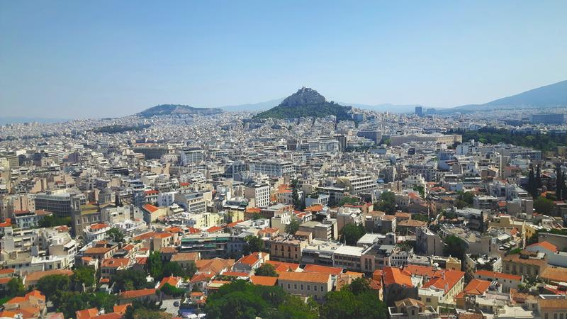 View over Athen in summer Holiday in greece. Over athena royalty free stock photos