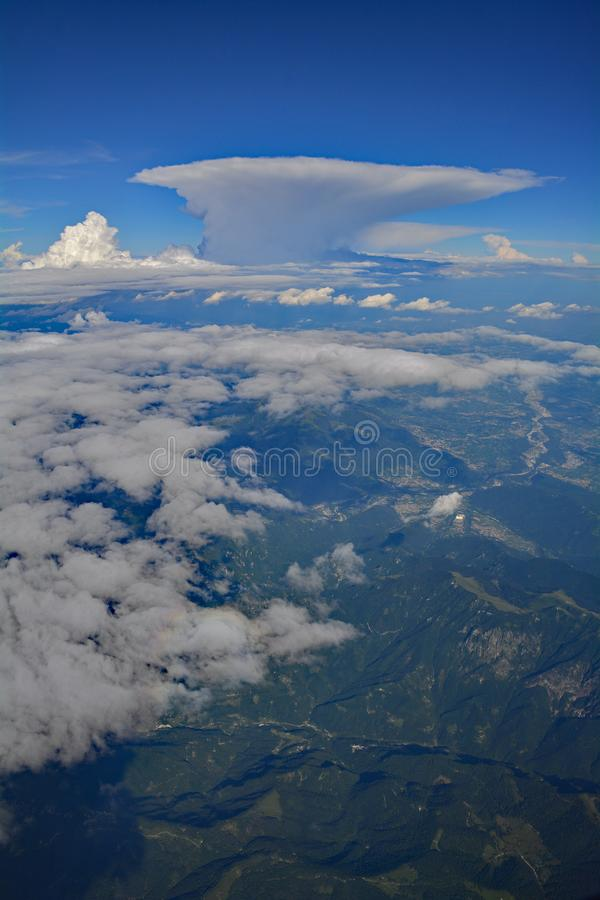 View Over Austria. A view over the Austian Alps taken from an aeroplane royalty free stock photo
