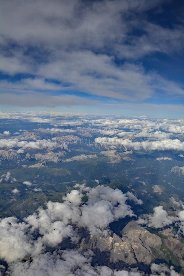 View Over Austria. A view over the Austian Alps taken from an aeroplane royalty free stock photography