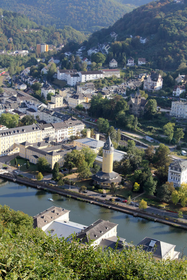 The view over Bad Ems, Germany stock images