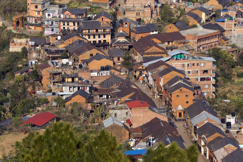 View over Bandipur Bazar Nepal royalty free stock photo