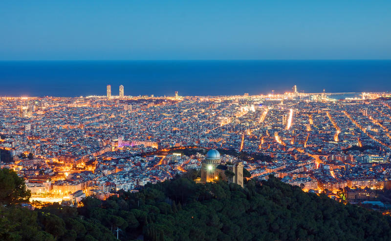 View over Barcelona at dawn. View over Barcelona from Mount Tibidabo at dawn stock images