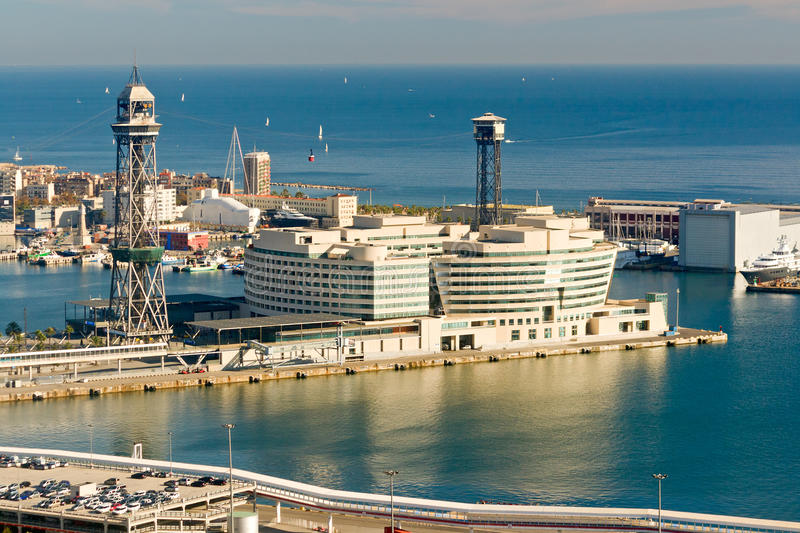 View over the Barcelona Port stock images