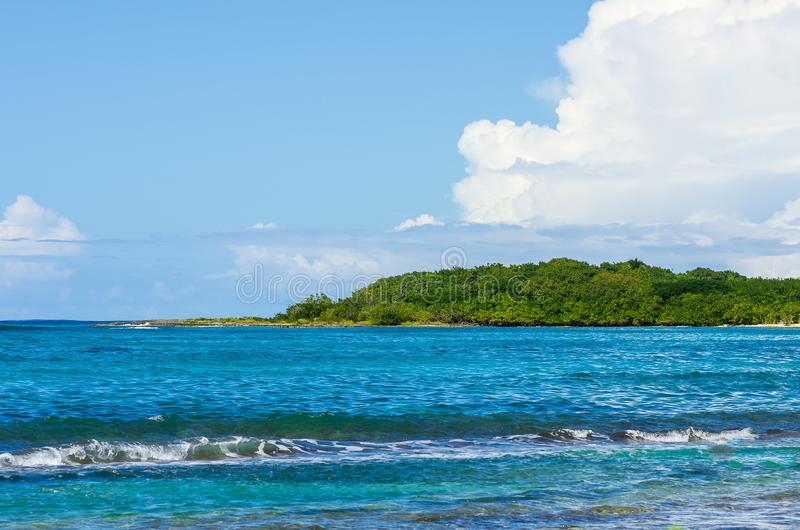 View over a bay to the coast on the other side, Guadeloupe stock photos