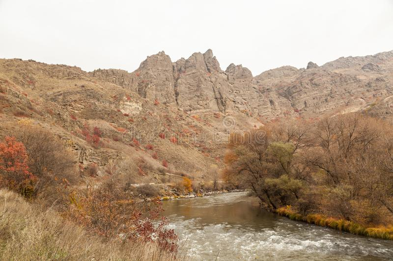 View over beautiful canyon from the edge of a road. Deep, eastern. royalty free stock photos