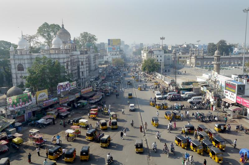 view over a bus intersection from Charminar Monument in Hyderabad, India stock images
