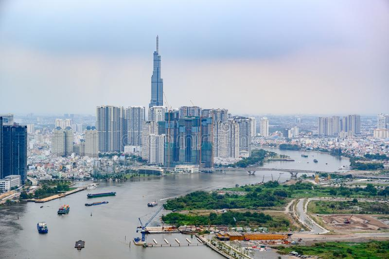 Aerial view over Saigon River to Landmark 81, super tall skyscraper in Ho Chi Minh City or Saigon, Vietnam stock photos