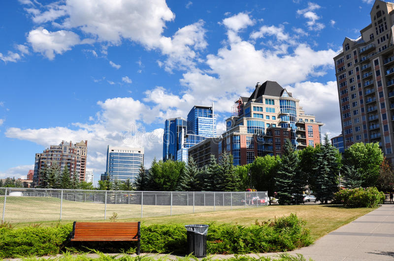View over Calgary downtown, Alberta, Canada.  royalty free stock photography