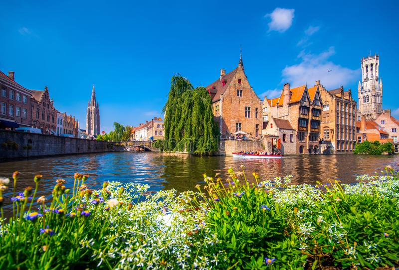 View over canal at the medieval city of Brugge in day light. stock photo