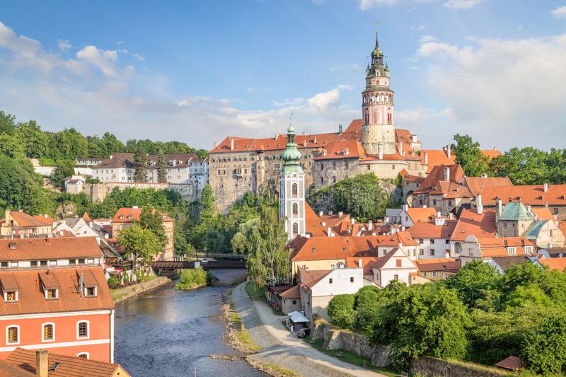 View over Cesky Krumlov with Moldau river in Summer stock photos