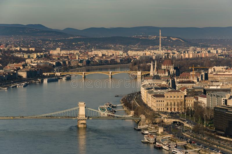 View over Chain Bridge and Danube river towards the Margaret Bridge, Budapest, Hungary. Budapest, Hungary - 12/25/2017 royalty free stock photo