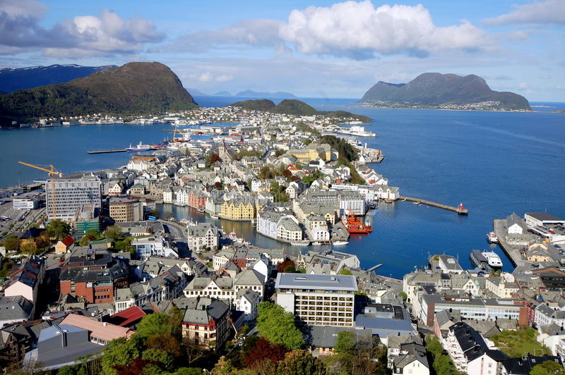 View over the city of Ã…lesund, Norway. View from the Aksla mount over the city of Ã…lesund, Norway stock photography