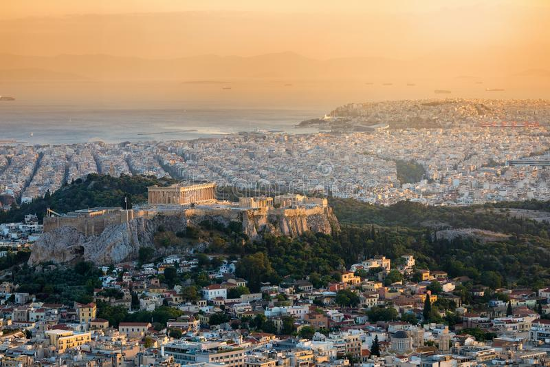 View over the city of Athens, Greece, with the Acropolis hill and the Parthenon Temple royalty free stock photo