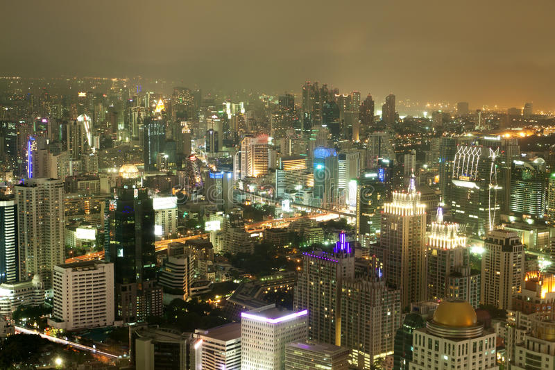 View over the city of bangkok at nighttime. With skyscrapers in Thailand stock image