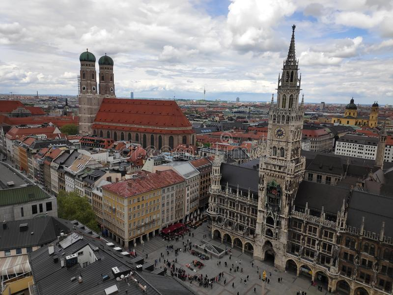 View over city center of Munich - Frauenkirche, Marienplatz and Gothic Town Hall stock images