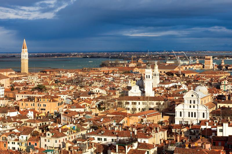 View over the city of Venice in Italy royalty free stock image