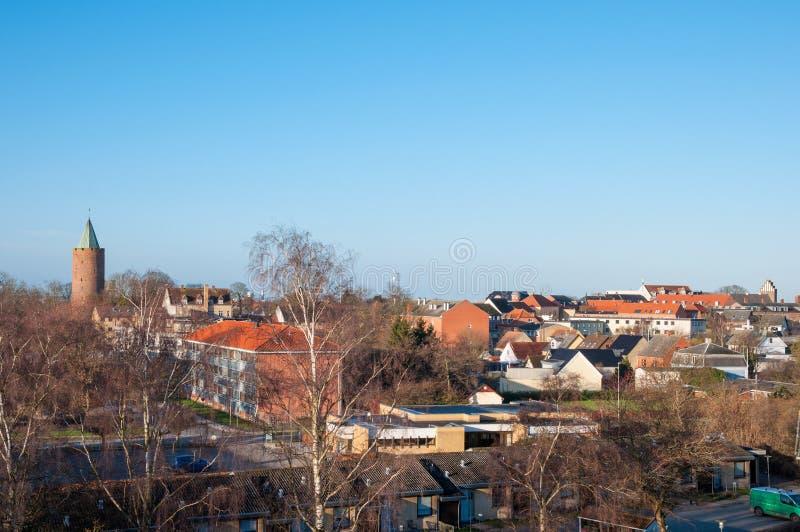View over Vordingborg in Denmark. View over city of Vordingborg in Denmark stock photography