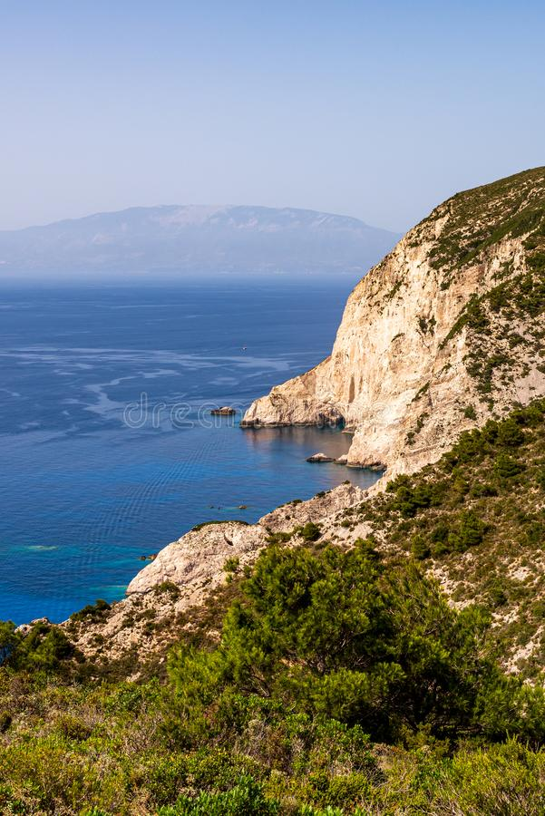 View over the cliffs and the blue sea in the northwest of Zakynthos to the island Kefalonia, stock photo
