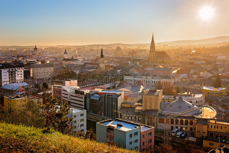 View over Cluj Napoca. View from above of Cluj Napoca city and St. Michael`s Church in a sunny morning royalty free stock photography