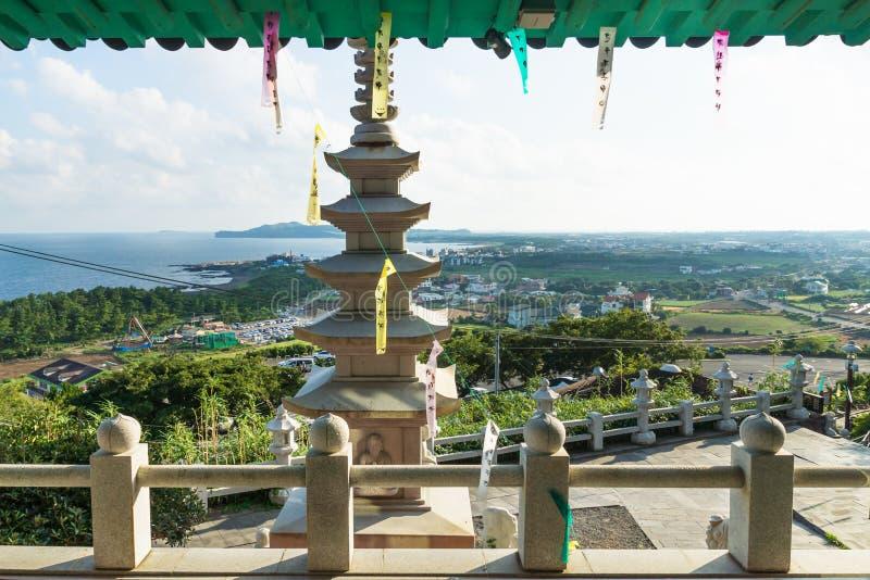 View over coastline at Sanbanggulsa temple, Sanbang-ro, Jeju Island, South Korea royalty free stock photography