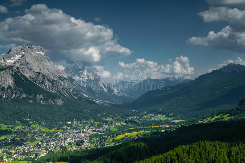 View over Cortina D'Ampezzo stock photos