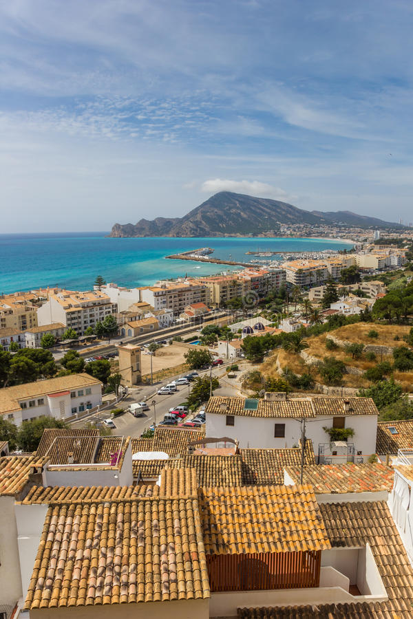 View over the Costa Blanca from the overlook point in Altea. Spain stock images