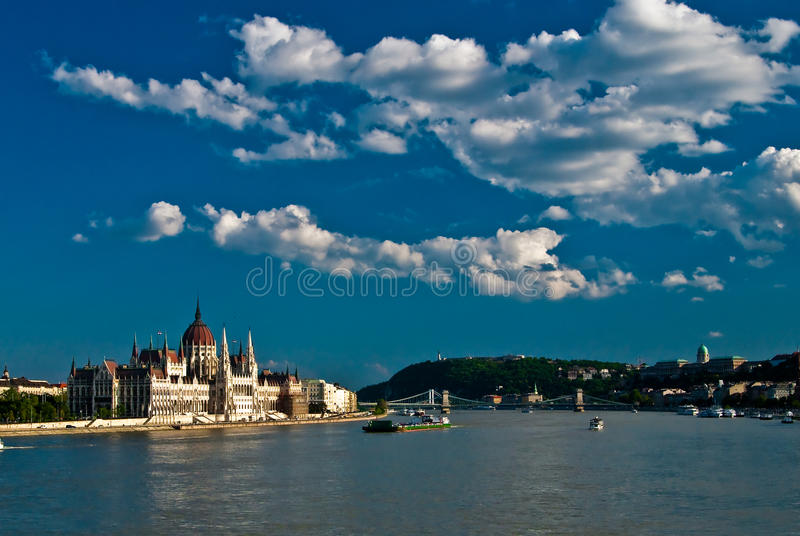 View Over the Danube of Parliament. A landscape of Parliament over the Danube in Budapest stock photos