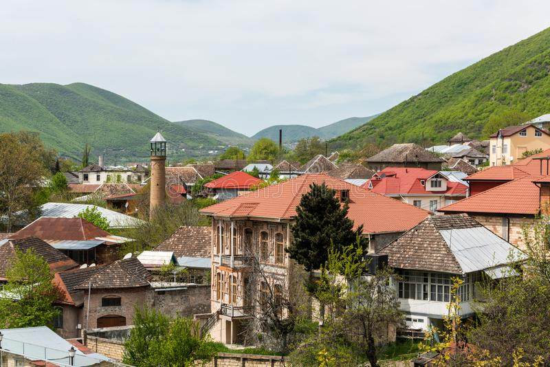 View over downtown area of Sheki town in Azerbaijan. Sheki, Azerbaijan - April 29, 2019. View over downtown area of Sheki town in Azerbaijan, with historical stock photo